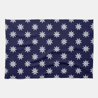 Nautical ship's wheel pattern tea towel