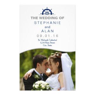 Nautical Ship's Wheel Photo Wedding Programs Flyer