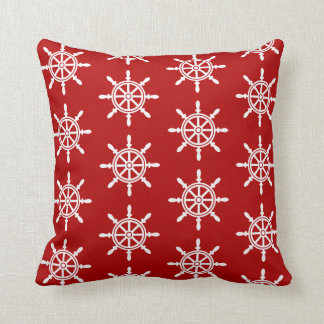 Nautical Ship's Wheel Pillow -Red and White