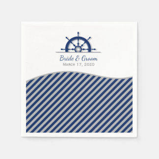 Nautical Ship's Wheel Wedding Paper Napkin