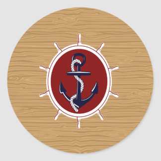 Nautical Ships Wheels Anchor on Wood Grain Classic Round Sticker