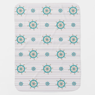 Nautical *Ships Wheel's Aweigh* Baby Blanket