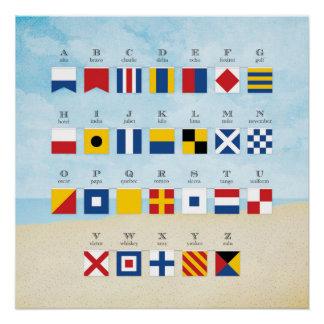 Nautical Signal Flag Alphabet and Beach Poster