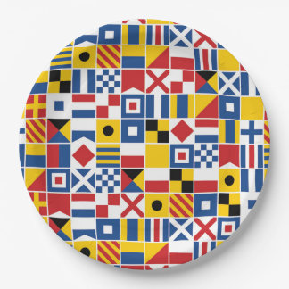 Nautical Signal Flags Pattern Paper Plate