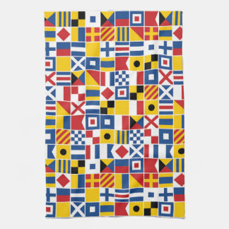 Nautical Signal Flags Pattern Tea Towel