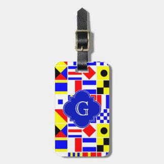 Nautical Signal Flags Royal Quatrefoil Monogram Luggage Tag