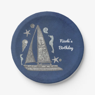 Nautical Silver Boat & Beach Things Elegant Party Paper Plate