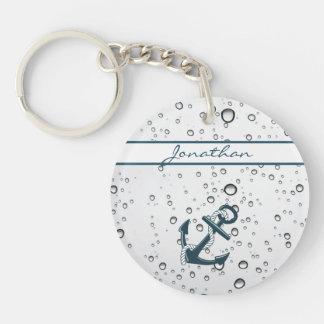 Nautical Sinking Anchor Personalised Double-Sided Round Acrylic Key Ring