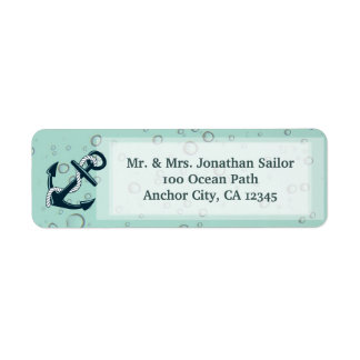 Nautical Sinking Anchor Personalised Return Address Label