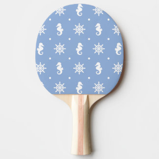 Nautical sky blue pattern ping pong paddle