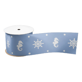 Nautical sky blue pattern satin ribbon