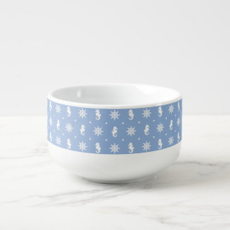 Nautical sky blue pattern soup mug
