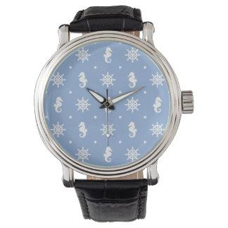 Nautical sky blue pattern watch