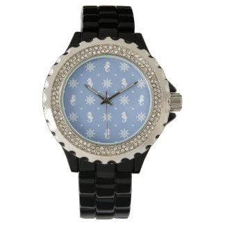 Nautical sky blue pattern wrist watch