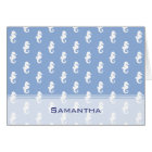 Nautical sky blue seahorse pattern card