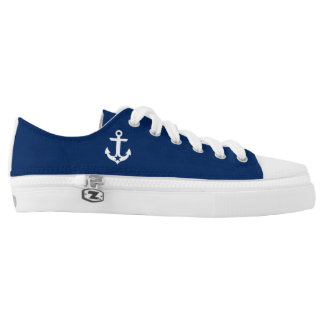 Nautical Star Anchor Navy Blue Low Tops