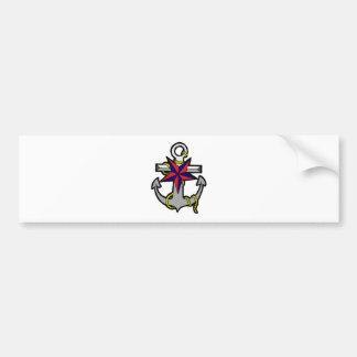 Nautical Star and Anchor Bumper Sticker