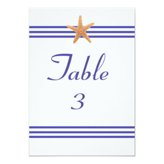 Nautical Starfish - 5x7 Table Number