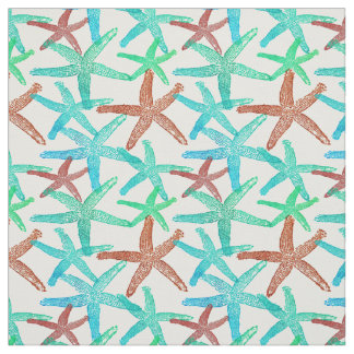 Nautical starfish abstract brown teal aqua green fabric