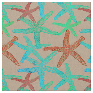 Nautical starfish abstract  teal aqua brown  taupe fabric