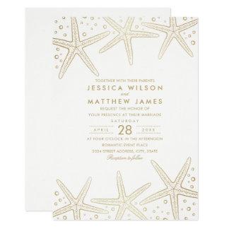 Nautical Starfish Elegant Fun Beach Themed Wedding Card