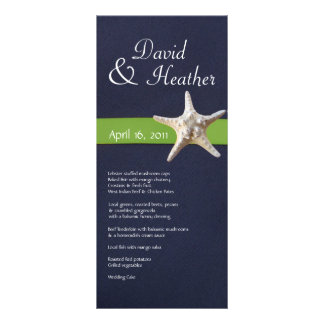Nautical Starfish Navy and  Kelly Green Menu