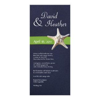 Nautical Starfish Navy and  Kelly Green Menu Personalised Rack Card