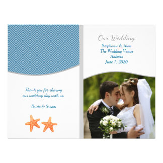 Nautical Starfish Photo Wedding Programs Flyer