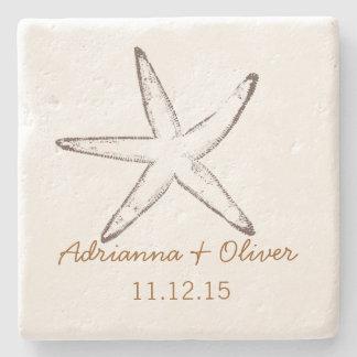 Nautical Starfish Wedding Stone Coaster