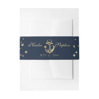 Nautical Starry Midnight Sky Wedding Invitation Belly Band