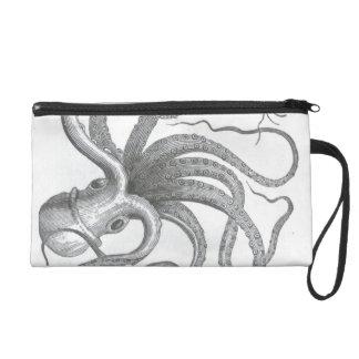 Nautical steampunk octopus vintage book drawing wristlet purses