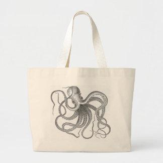 Nautical steampunk octopus vintage kraken drawing canvas bags