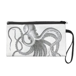 Nautical steampunk octopus vintage kraken drawing wristlet clutches