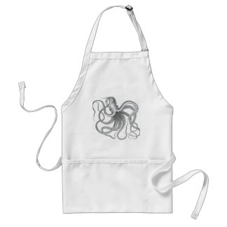 Nautical steampunk octopus vintage kraken drawing standard apron