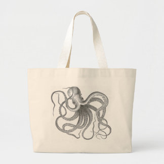 Nautical steampunk octopus vintage kraken drawing jumbo tote bag