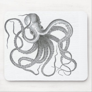 Nautical steampunk octopus vintage kraken sci fi mouse pad