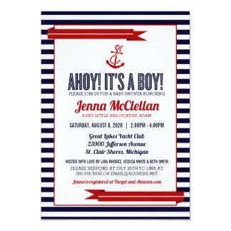 Nautical Stripe & Anchor Baby Shower Invitation