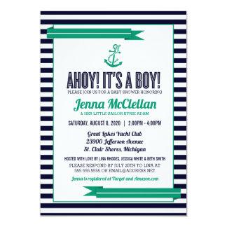 Nautical Stripe Anchor Green & Navy Baby Shower Card