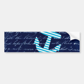 Nautical Stripe anchor handwriting design Bumper Sticker