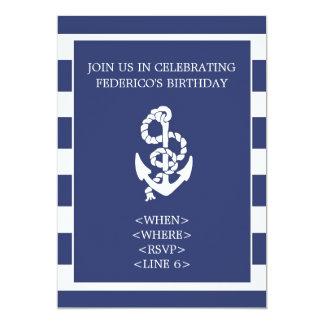 Nautical Stripe Anchor Party Invitation, Navy Blue Card
