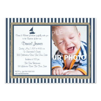 Nautical Stripe and Sailboat Baptism Card