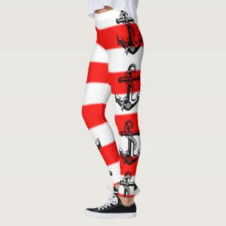 Nautical Striped Anchor Leggings Both Sides