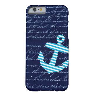 Nautical Striped blue anchor iPhone 6 case Barely There iPhone 6 Case