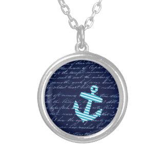 Nautical Striped blue anchor necklace