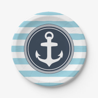 Nautical Striped Navy and Light Blue Paper Plate