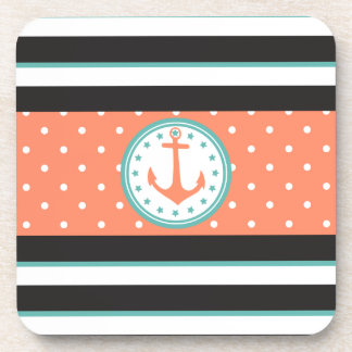 Nautical Stripes & Anchor (Coral/Turquoise) Coaster