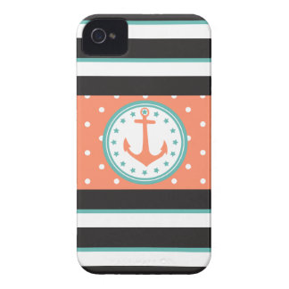 Nautical Stripes & Anchor (Coral/Turquoise) iPhone 4 Cover