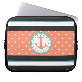 Nautical Stripes & Anchor (Coral/Turquoise) Laptop Sleeves