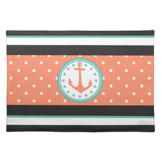 Nautical Stripes & Anchor (Coral/Turquoise) Placemat