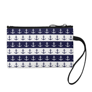 Nautical stripes and anchor pattern coin purse